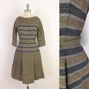 50s Vintage Laiglon Wool Winter Dress Fitted N1014